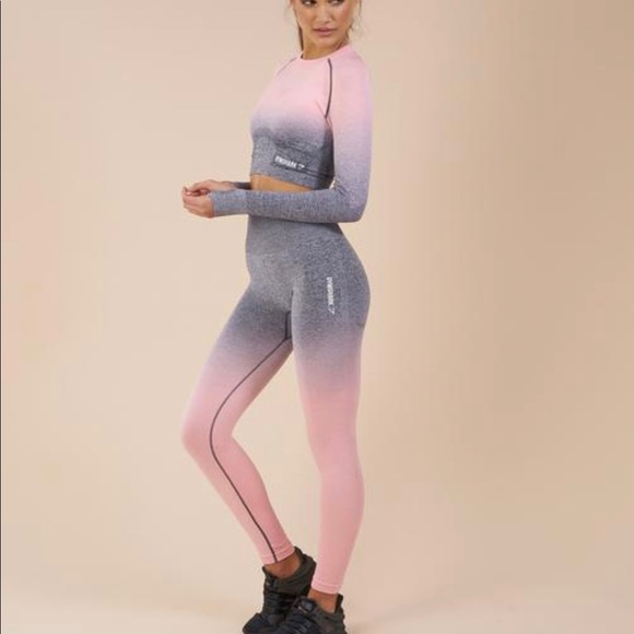 b46c23783b9b3f Gymshark Pants | Ombre Seamless Leggings Peach Pinkgrey | Poshmark